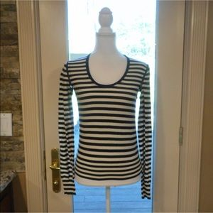 Sonia rykiel sz s blue white striped shirt top